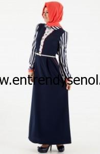 lacivert çizgili tesettür elbiseler 2013 yaz