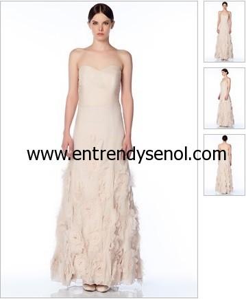 eteği gül figürlü ekru mezuniyet elbiseleri Straplez Uzun Elbise fiyatı 495 lira