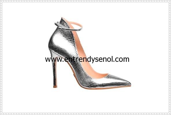 metalik gümüş renk modası stiletto ayakkabılar 299.94 TL